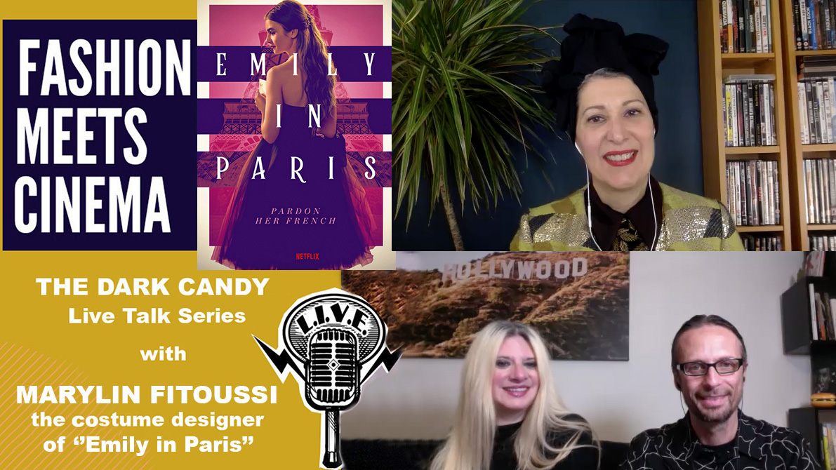 """THE DARK CANDY #FASHIONMEETSCINEMA LIVE TALK SERIES: MARYLIN FITOUSSI AND THE COSTUMES OF """"EMILY IN PARIS"""", THE MOST FASHIONABLE WARDROBE AND A CERTAIN CARRIE BRADSHAW."""